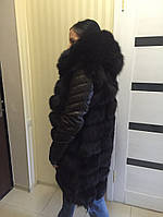 """Куртка-трансформер с мехом финского песца и кожаными рукавами """"Hailey"""", размеры в наличии"""