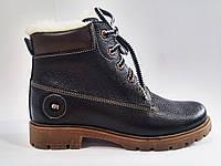 Кожаные женские зимние стильные удобные черные ботинки 36 Тимберленды