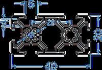 Алюминиевый станочный профиль 20x40 мм АД31 Т5