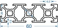 Алюминиевый станочный профиль 20x60 мм АД31 Т5