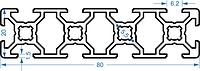 Алюминиевый станочный профиль 20x80 мм АД31 Т5