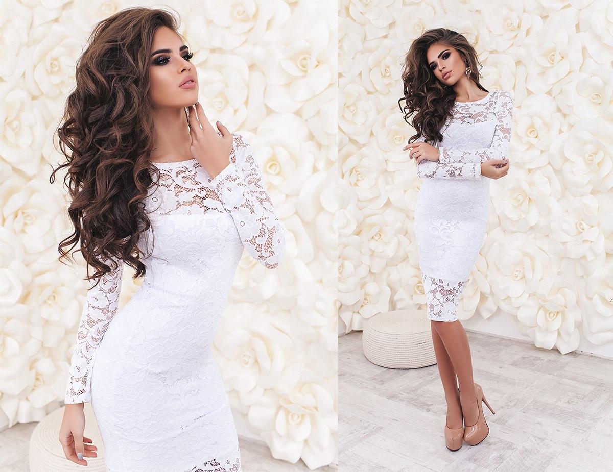 a2f2e4aa7dcb824 Платье женское белое с гипюра ТК/-2017 - Dress Up*-интернет магазин