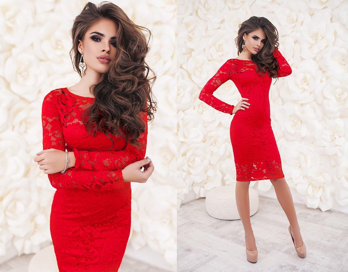 e4262170e1a7a29 Платье женское красное с гипюра ТК/-2017 - Dress Up*-интернет магазин