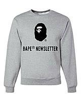 Свитшот BAPE серый с лого,унисекс (мужской,женский,детский)