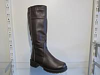 Сапоги женские зимние кожаные на каблуке