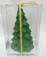 Свеча новогодняя зелёная Елка в упаковке