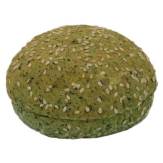 Булочка для гамбургера шпинатная вегетарианская с кунжутом 80г (48шт.)