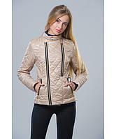 Демисезонная куртка женская модель №11 бежевая, Размер 42-48