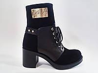 Женские зимние кожаные стильные комфортные черные полусапожки на каблуке 36 Gama