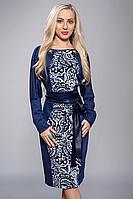 Платье женское узор синее, размеры 48,50,52