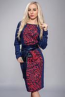 Платье женское узор красное, размеры 48,50,52