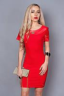Платье женское с отделкой 242-2 красный,размер 40