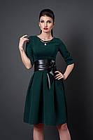 Платье с пышной юбкой 381-5 темно-зеленое