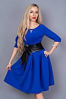 Платье женское с поясом 381-3 электрик