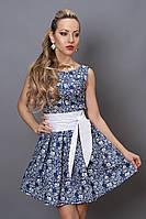 Платье летнее 248 джинс белый цветок