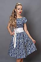 Платье миди 249-9 джинс белый цветочек