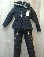Лыжный костюм  зима для девочки 8-12 лет, темно-синий