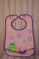 Слюнявчик непромокаемый(5 вариантов) Lindo розовый с жабкой