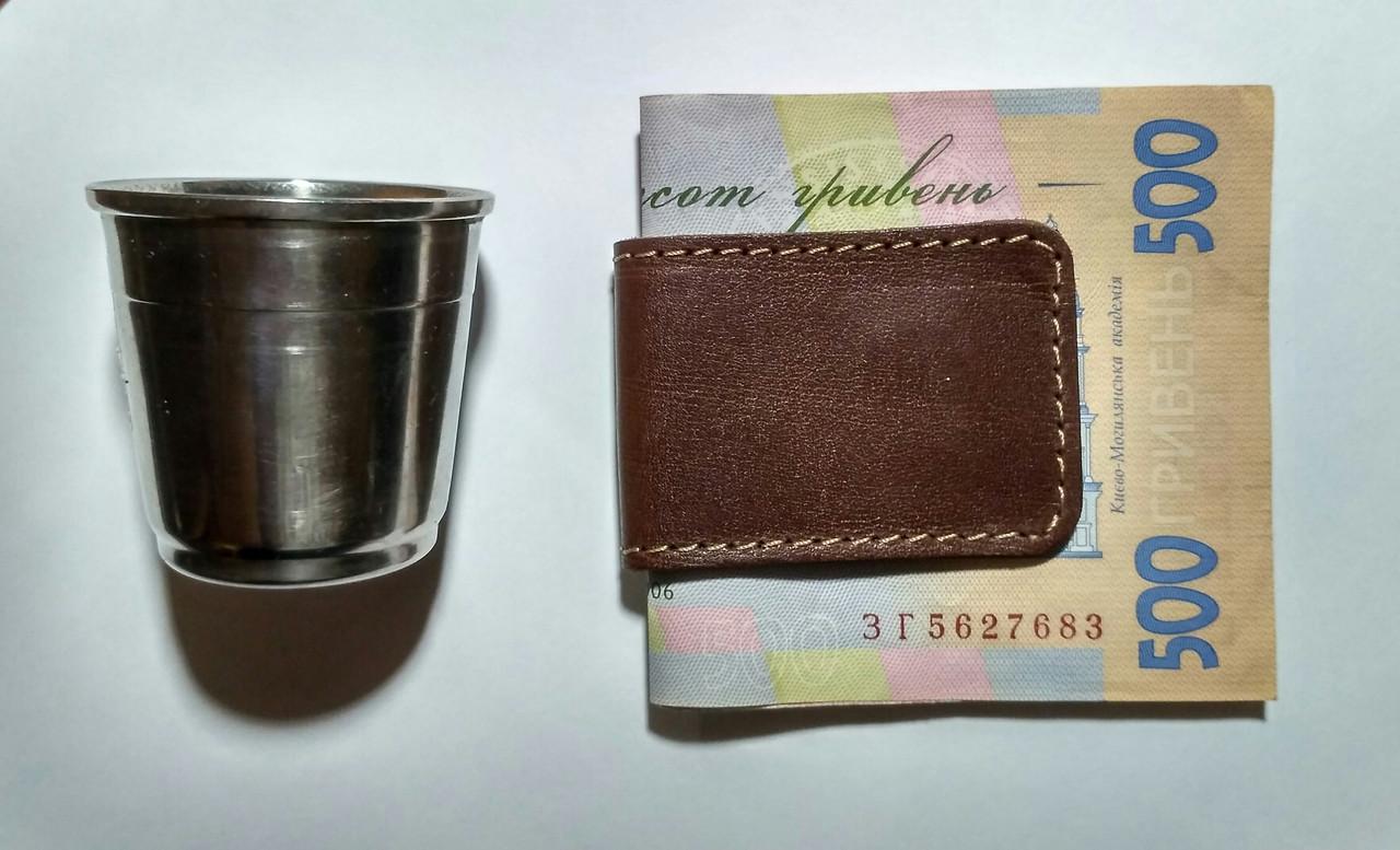 Зажим для купюр на магнитах из натуральной кожи, фото 1