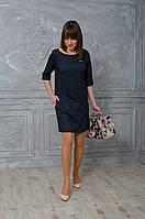 Стильное темно-серое строгое платье свободного покроя с погонами
