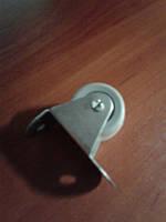 Ролик мебельный серый, бочонком с прямым креплением, гнутый, усиленное (Ф-32 мм)