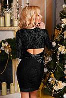 Платье женское нарядное, ткань ОСНОВА ГИПЮР. ПОДКЛАДКА МИКРО ДАЙВИНГ .АТЛАСНЫЙ БАНТ  4 цвета вмаг № 9004
