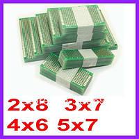 Макетные платы набор 5 x 7; 4 x 6; 3 x 7; 2 x 8 см; двухсторонний медь