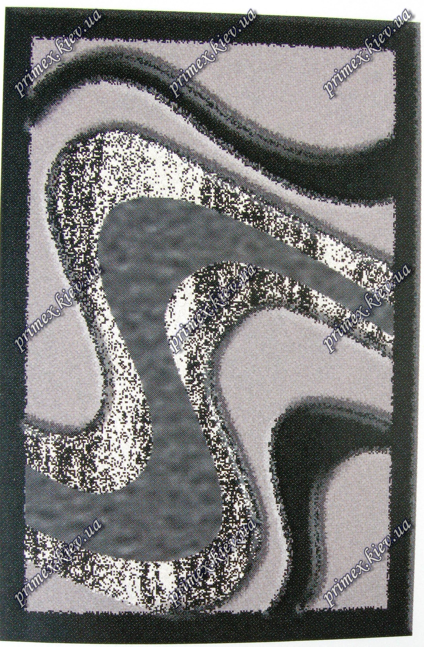 """Рельефный ковер Нью Йорк """"Серебро"""", цвет черный"""