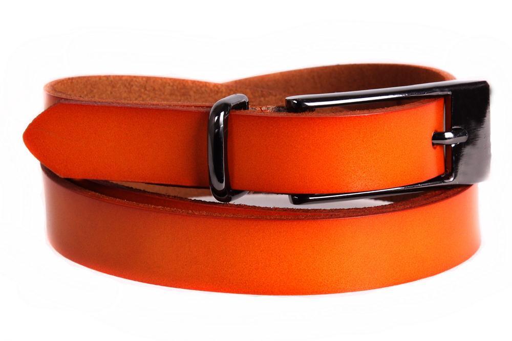 Женский узкий ремень из натуральной кожи кт6587 оранжевый