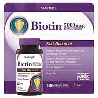 Биотин Natrol Экстра Сила, 5000 мкг, 250 таблеток. Сделано в США.