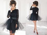 Платье женское чёрное с фатином ТК/-2014