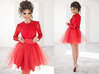 Платье женское красное с фатином ТК/-2014