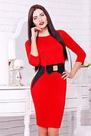 42,44,46,48,50 размеры Платье Сильвия красное приталенное женское деловое на работу трикотажное