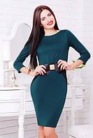42,44,46,48,50 размеры Платье Сильвия бутылка приталенное женское деловое на работу трикотажное зеленое