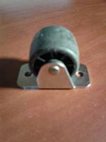Ролик мебельный чёрный бочёнком, с прямым креплением, усиленное (Ф-30 мм)