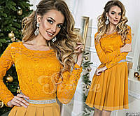 Праздничное женское платье с гипровым верхом и стразами юбка клеш горчица