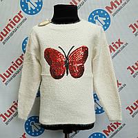 Кофта на девочку тёплая с вышитой бабочкой Bimbo Style. ИТАЛИЯ.