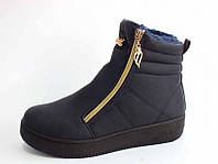 Зима ботинки женские на меху высокая подошва синие с замком тёплые  Z-051