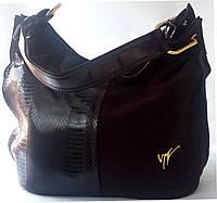 Бордовая сумка из натуральной кожи и замша