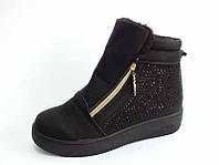 Зимние ботинки женские на меху под замшу высокая подошва чёрные с замком тёплые  Z-074