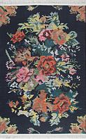 Ковер Петчворк Цветы на черном фоне (с кисточками)