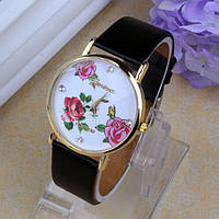 Часы женские Geneva (Женева) цветы - чёрные ( Бесплатная доставка Укрпочтой )