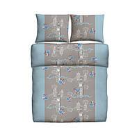 Постельное белье  100% хлопок гладкая 160x200см + 2x70x80см ремни в цвет голубой и символами города Londоn