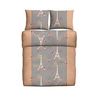 Постельное белье  100% хлопок гладкая 160x200см + 2x70x80см ремни в цвет лососевый и символами города Парижа