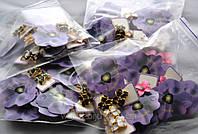 Серьги цветы лот 10 ед. цвет в ассорт. (Корея)