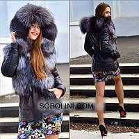 """Красивая кожаная куртка с мехом чернобурки """"Lillian"""""""