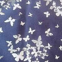 Трикотажное полотно джинс хб/эл, бабочки на синем