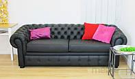 Классический диван-кровать с pikowaniami Chesterfield Ретро 232 см/FS в натуральной коже