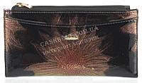 Стильный элитный женский кожаный кошелек высокого качества H.VERDE art. 2489-B40 черный с цветами