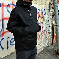 Мужской зимний анорак MonoChrome черный с капюшоном (мужская зимняя одежда)